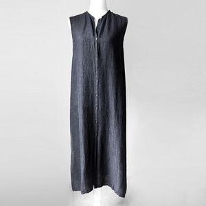EILEEN FISHER minimalist oversize linen vest dress